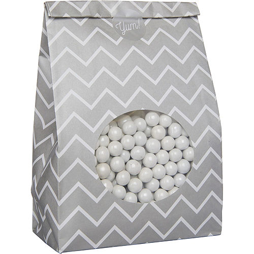 Medium Silver Chevron Paper Treat Bags with Seals 8ct Image #2