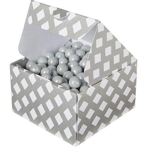 Silver Square Treat Boxes 10ct Image #1