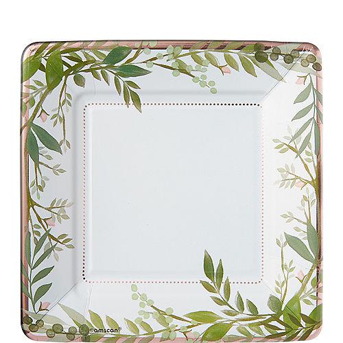 Metallic Floral Greenery Dessert Plates 8ct Image #1