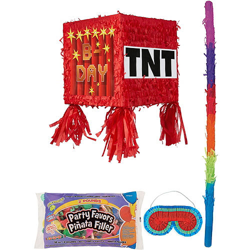 Pixelated TNT Block Pinata Kit with Candy & Favors Image #1