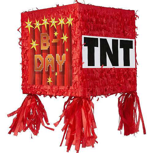 Pixelated TNT Block Pinata Kit with Candy & Favors Image #2