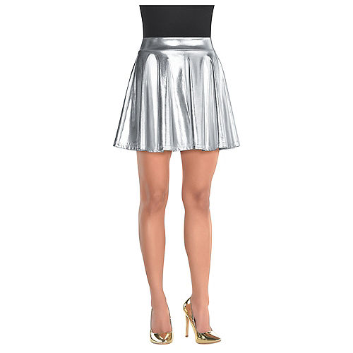 Mini skirts plus size with legs spread Womens Silver Flare Skirt Party City
