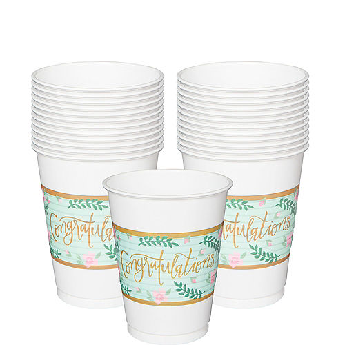 Mint to Be Floral Plastic Cups 25ct Image #1