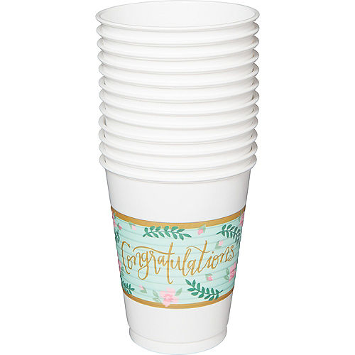 Mint to Be Floral Plastic Cups 25ct Image #2