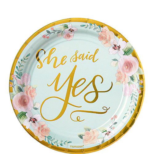Metallic Mint to Be Floral Dessert Plates 8ct Image #1