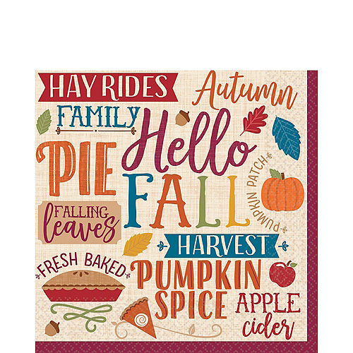 Fall Phrases Lunch Napkins 16ct Image #1