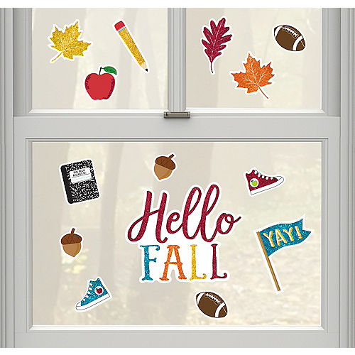 Glitter Hello Fall Cling Decals 16pc Image #1