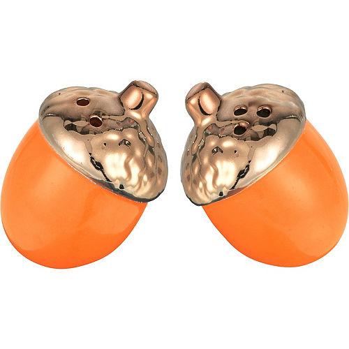 Metallic Bronze & Orange Acorn Salt & Pepper Shakers Image #1