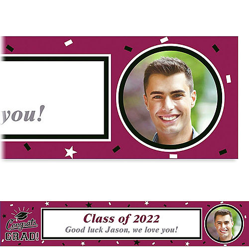 Custom School Colors Pride Maroon Photo Banner  Image #1