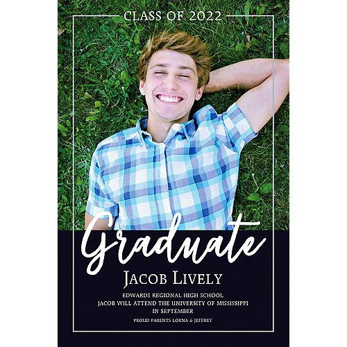 Custom White Graduate Overlay Photo Announcement  Image #1
