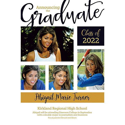 Custom Black Block Collage Graduate Photo Announcement  Image #1