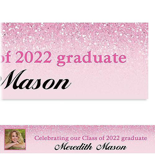 Custom Shimmery Pink Graduation Photo Banner  Image #1