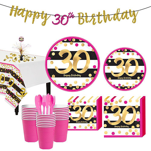 Pink & Gold 30th Birthday Party Kit for 32 Guests Image #1