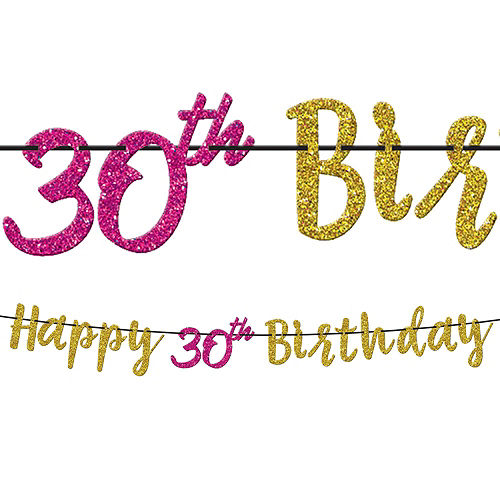 Pink & Gold 30th Birthday Party Kit for 32 Guests Image #10