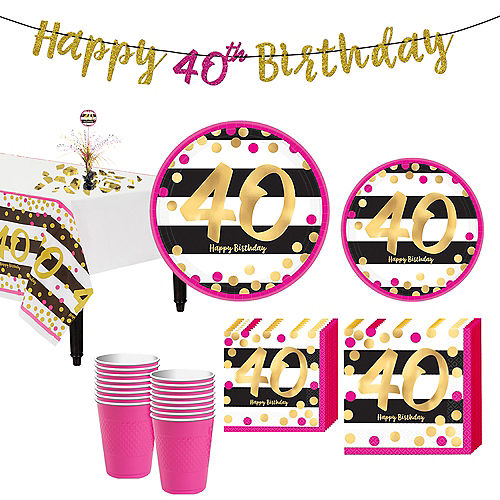 Pink & Gold 40th Birthday Party Kit for 16 Guests Image #1