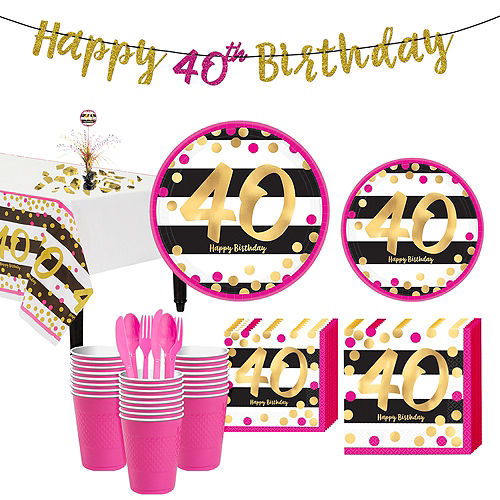Pink & Gold 40th Birthday Party Kit for 32 Guests Image #1