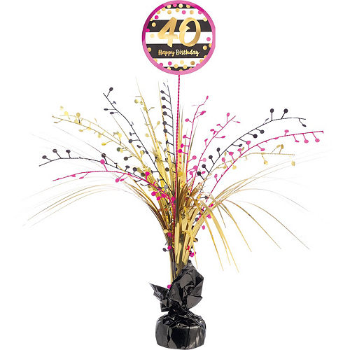 Pink & Gold 40th Birthday Party Kit for 32 Guests Image #9