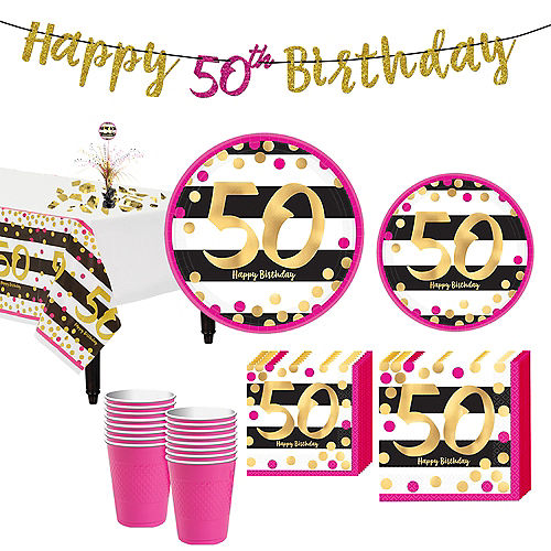 Pink & Gold 50th Birthday Party Kit for 16 Guests Image #1