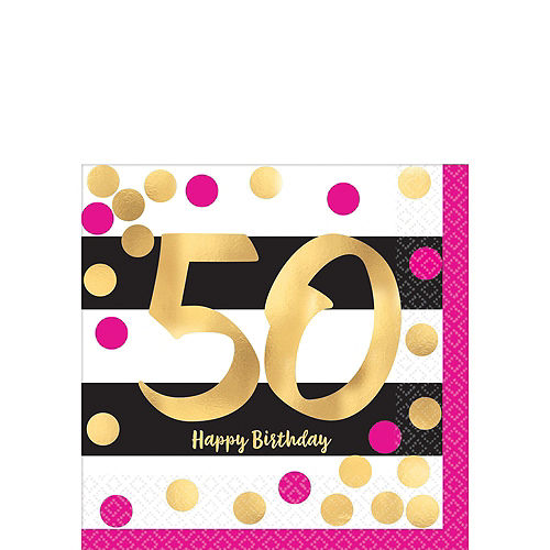 Pink & Gold 50th Birthday Party Kit for 16 Guests Image #4