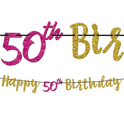 Pink & Gold 50th Birthday Party Kit for 16 Guests Image #9
