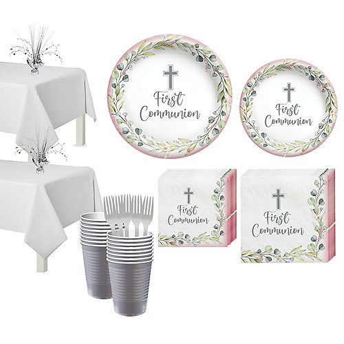 Girl's First Communion Tableware Kit for 36 Guests Image #1