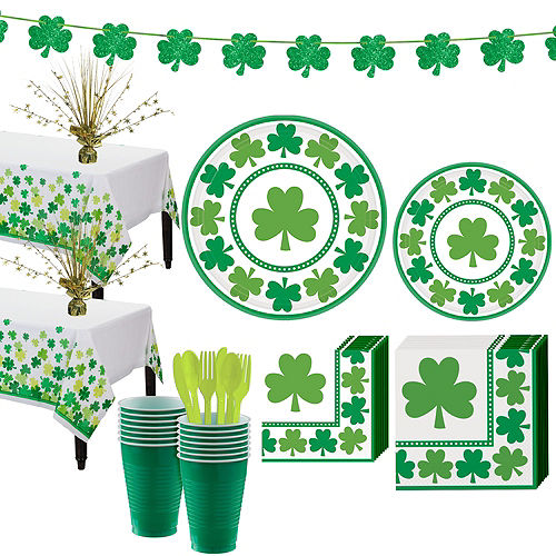 Lucky Shamrock Value Tableware Kit for 32 Guests Image #1