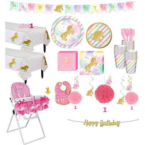 Sparkling Unicorn 1st Birthday Deluxe Party Kit for 32 Guests Image #1