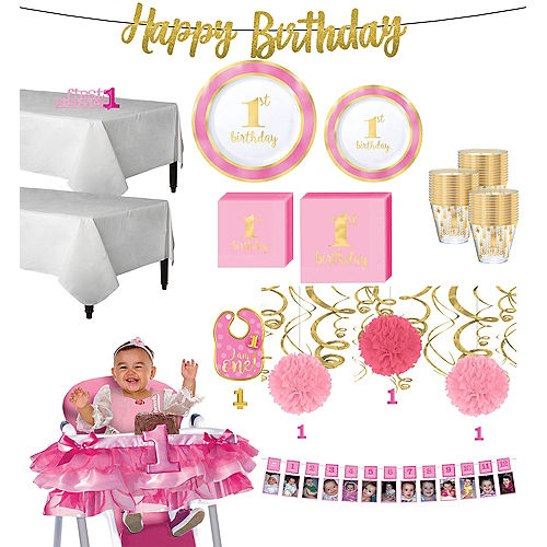 Pink & Gold Premium 1st Birthday Deluxe Party Kit for 20 Guests Image #1
