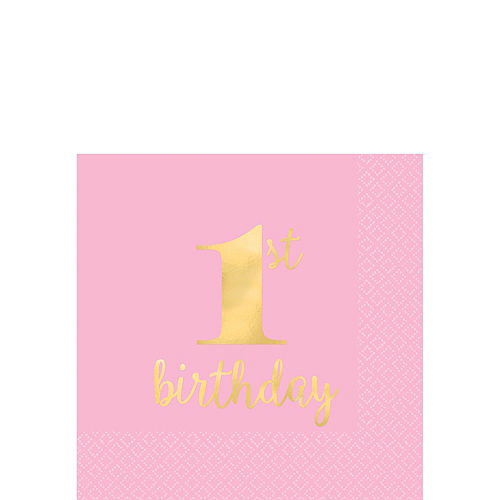 Pink & Gold Premium 1st Birthday Deluxe Party Kit for 20 Guests Image #4