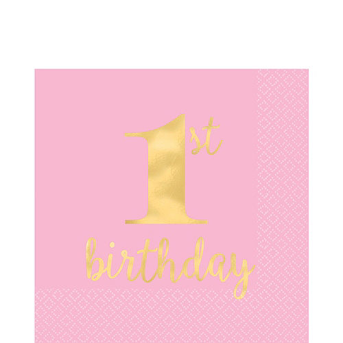 Pink & Gold Premium 1st Birthday Deluxe Party Kit for 20 Guests Image #5