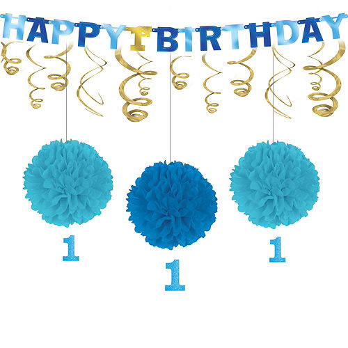 Blue & Gold 1st Birthday Decorating Kit Image #1