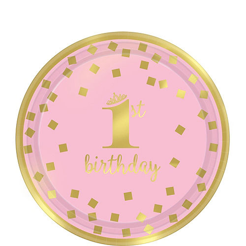 Pink & Gold Confetti Premium 1st Birthday Party Kit for 16 Guests Image #2