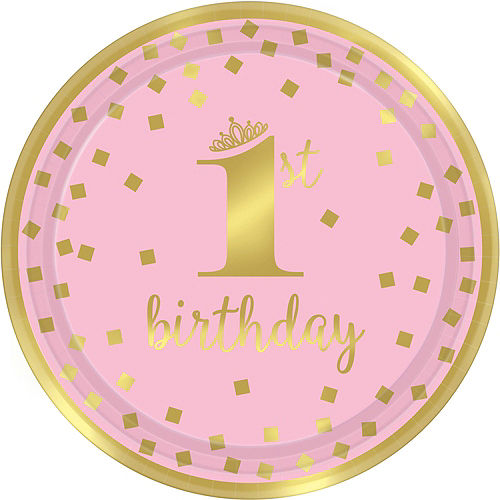Pink & Gold Confetti Premium 1st Birthday Party Kit for 16 Guests Image #3