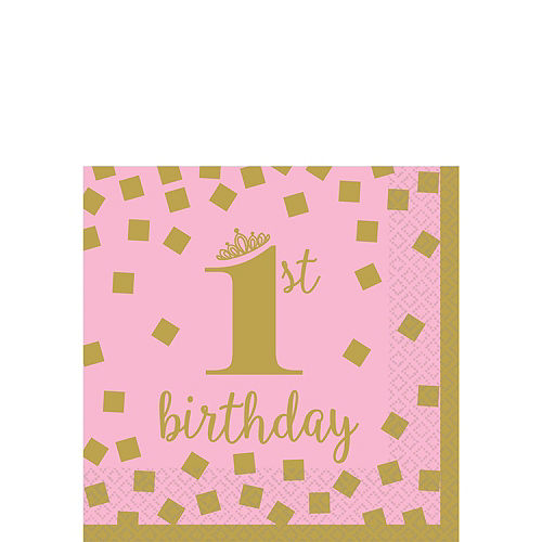 Pink & Gold Confetti Premium 1st Birthday Party Kit for 16 Guests Image #4