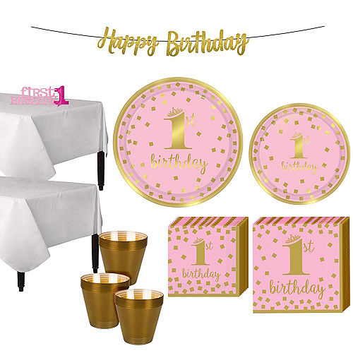 Pink & Gold Confetti Premium 1st Birthday Party Kit for 32 Guests Image #1