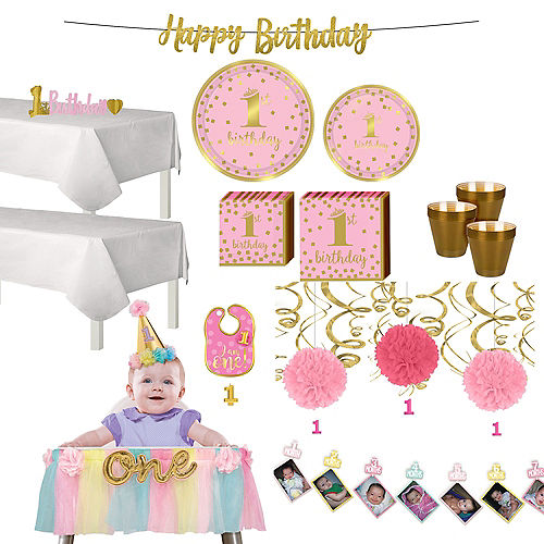 Pink & Gold Confetti Premium 1st Birthday Deluxe Party Kit for 32 Guests Image #1