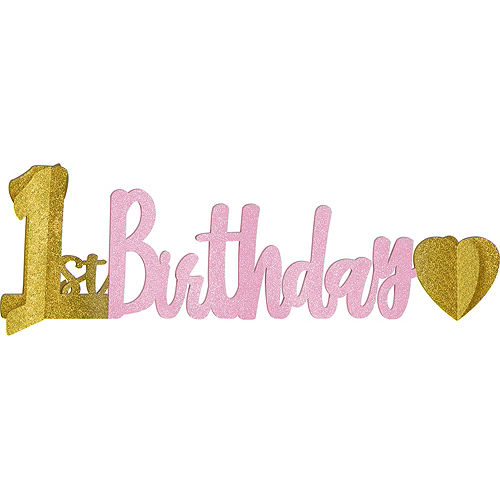 Pink & Gold Confetti Premium 1st Birthday Deluxe Party Kit for 32 Guests Image #10