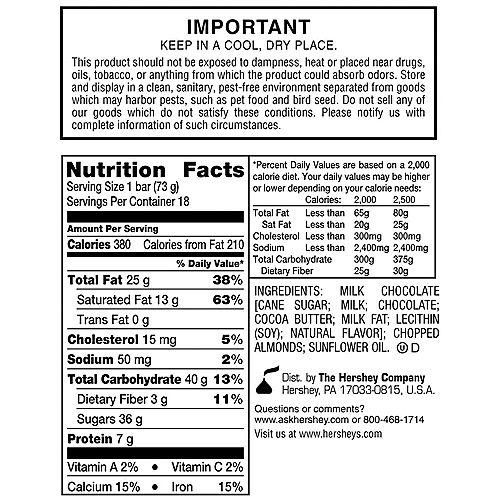Milk Chocolate Almond King Size Hershey's Bars 18ct Image #3