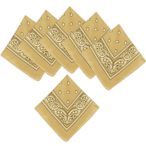 Gold Paisley Bandanas, 20in x 20in, 10ct Image #1