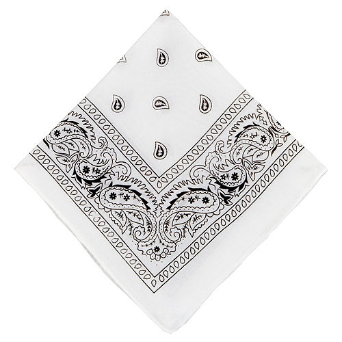 White Paisley Bandanas, 20in x 20in, 10ct Image #2