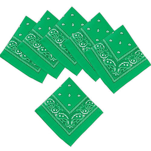 Green Paisley Bandanas, 20in x 20in, 10ct Image #1