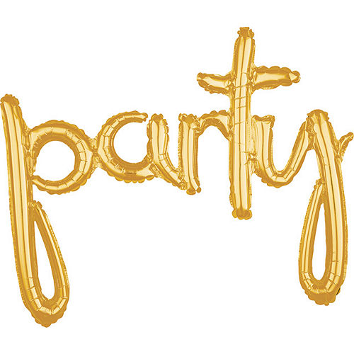 Air-Filled Gold Party Cursive Letter Balloon Banner, 31in Image #1