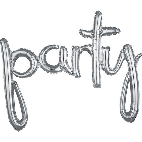 Air-Filled Silver Party Cursive Letter Balloon Banner 39in x 31in Image #1