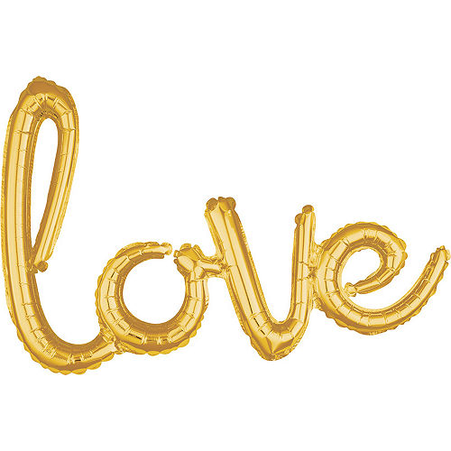 Air-Filled Gold Love Cursive Letter Balloon Banner, 21in Image #1