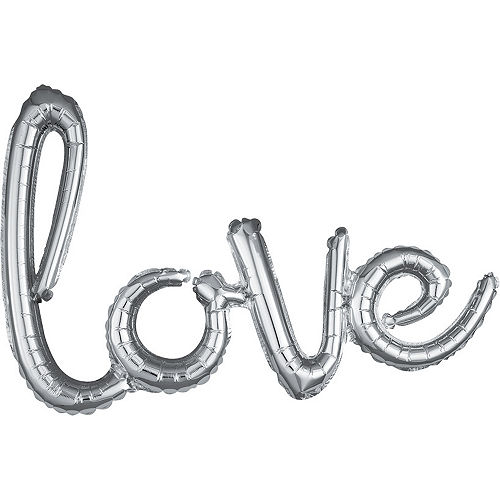 Air-Filled Silver Love Cursive Letter Balloon Banner, 21in Image #1