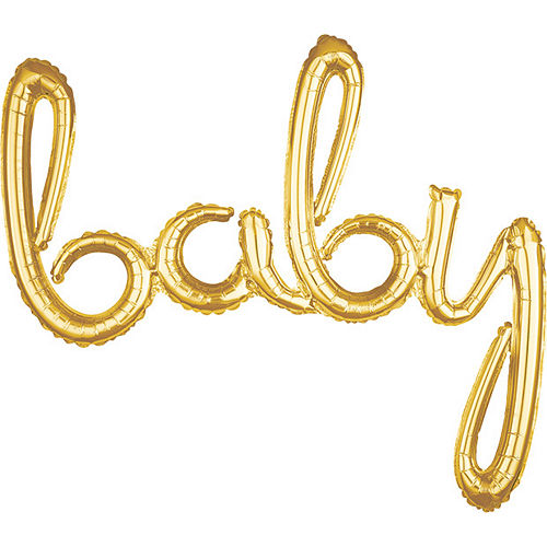 Air-Filled Gold Baby Cursive Letter Balloon Banner 39in x 33in Image #1