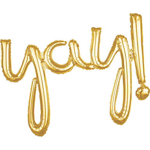 Air-Filled Gold Yay Cursive Letter Balloon Banner, 25in Image #1