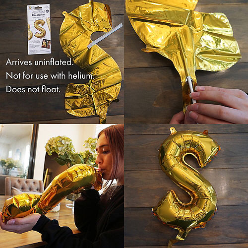 Air-Filled Gold Yay Cursive Letter Balloon Banner, 25in Image #2