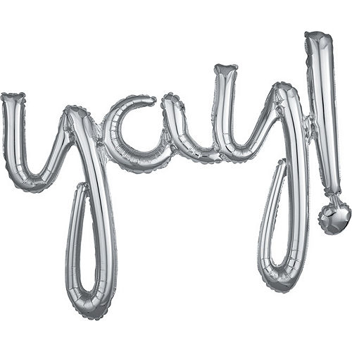 Air-Filled Silver Yay Cursive Letter Balloon Banner 35in x 25in Image #1