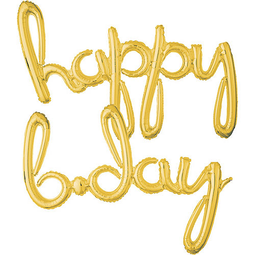 Air-Filled Gold Happy B-Day Cursive Letter Balloon Banners 2ct, 27in Image #1